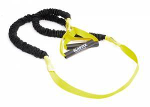 Elastic Stroops for Bosu and Step with protective sleeve and strap, light resistance - yellow. Length 215 cm.