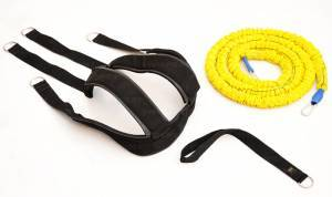 Harness with 3 meters resistance band, strength 68 kg.