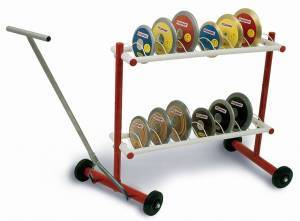 Discus trolley mobile on wheels.