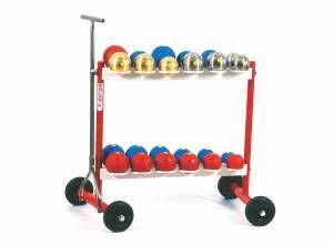 Steel trolley for balls, mobile on wheels.