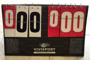 Manual table scoreboard, number from 0 to 199 with time-out pocket.