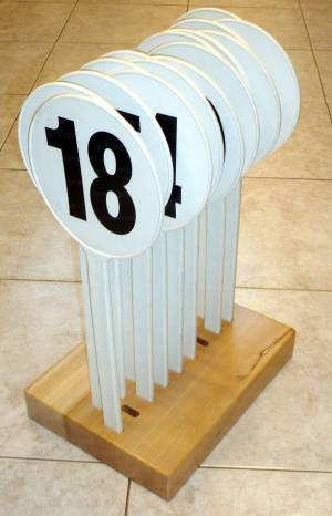 Set of numbered plastic boards for substitution player.