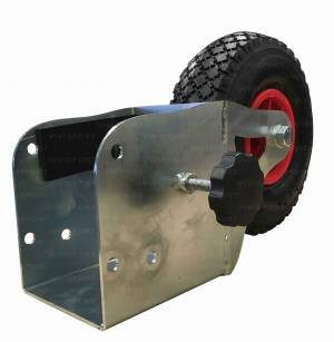Transportable wheel with bracket, brings football and soccer.