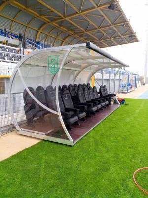 """World Cup"" model team shelter with ""VIP"" seats"