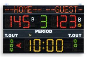 Multisport scoreboards displaying game time, team scores (0-199),period (0-9), bonus (1 light indicator per team), time-out (3 lightindicators per team), possession/Service/Turn (arrow),with the team name programmable.