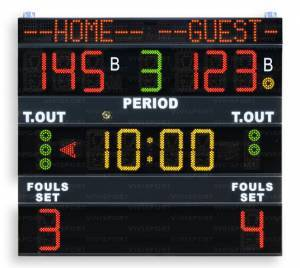 Multisport scoreboards displaying game time, team scores (0-199),period (0-9), bonus, time-out , possession/Service/Turn (arrow), team fouls/sets won (0 a 9),with the team name programmable.