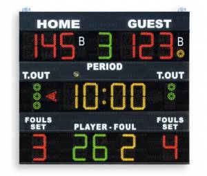 Multisport scoreboards displaying game time, team scores (0-199),period (0-9), bonus (1 light indicator per team), time-out (3 lightindicators per team), possession/Service/Turn (arrow), team fouls/setswon, last foul: (0-99) player number foul number