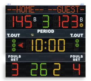 Multisport scoreboards displaying game time, team scores-1,period , bonus, time-out, possession/Service/Turn (arrow), team fouls/setswon, last foul: (0-99) player number foul number with the team name programmable