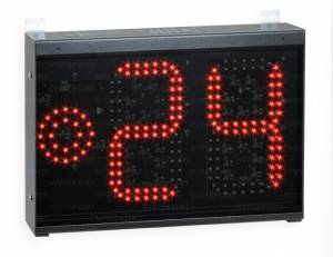 24 second shot clock (digits from 0 to 99, 20 cm high) and red light (diam. 8 cm.)