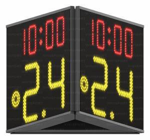 24 second shot clock (digits from 0 to 99, 30 cm high), game time (digits 14 cm high) and red light (diam. 15 cm.), 3 sided display