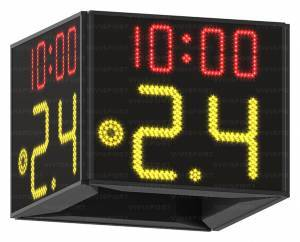 24 second shot clock (digits from 0 to 99, 30 cm high), game time(digits 14 cm high) and red light (diam. 15 cm.), 4 sided display