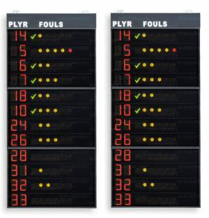Pair of statistics panels (side displays) for 12 player per team showingthe player number (from 0 to 99 programmable) and fouls/penalties (4 indicator lights + 1 red)