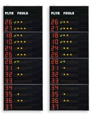 Pair of statistics panels (side displays) for 14 player per team showing the player number (from 0 to 99 programmable) and  fouls/penalties (4 indicator lights + 1 red)