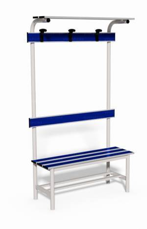 Locker room bench with backrest, clothes rail and ledge bags support, lenght 1 mt