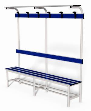Locker room bench with backrest, clothes rail and ledge bags support, lenght 2 mt