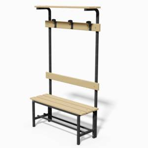 Locker room bench, with backrest, clothes rail and ledge bags support, lenght 1 mt.
