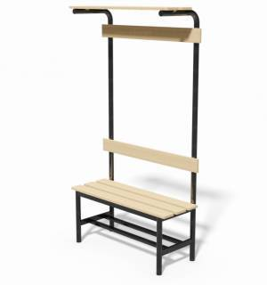 Locker room bench with backrest, clothes rail and ledge bags support, lenght 1 mt.