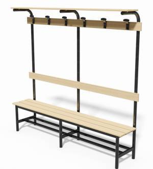 Locker room bench with backrest, clothes rail and ledge bags support, lenght 2 mt.