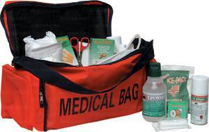 First aid medical bag in pvc doctor/masseurs, complete.